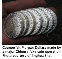 Chinese fakes of Morgan silver dollars