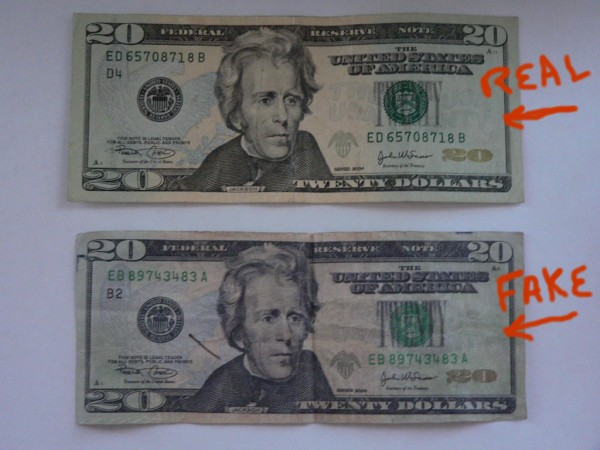 Real and fake $20 bills