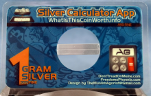 One gram silver card promoting the free silver calculator app